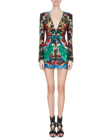 Embellished Baroque-Print Mini Dress, Multi Colors