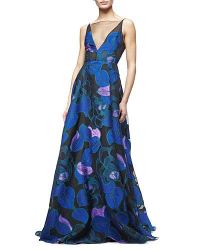 Sleeveless Leaf-Print Fil Coupe Gown, Lapis/Multi