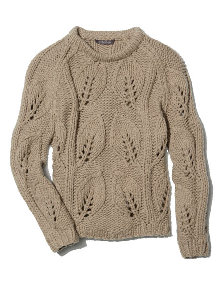 Leaf-Knit Pullover Sweater, Taupe