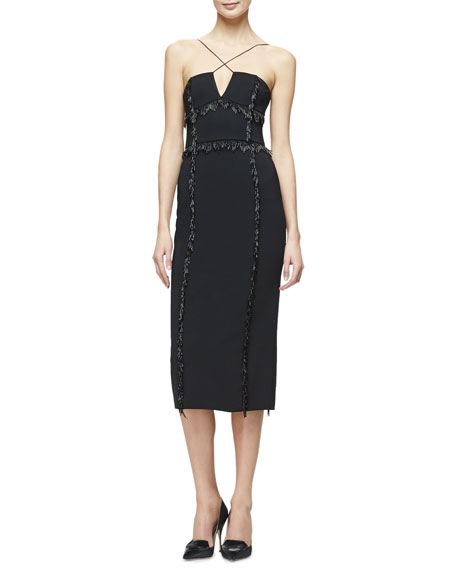 Cushnie Et Ochs Lena Crisscross-Front Sheath Dress, Black