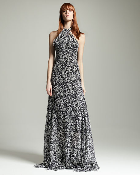 Halter-Neck Racerback Printed Gown, Black/White