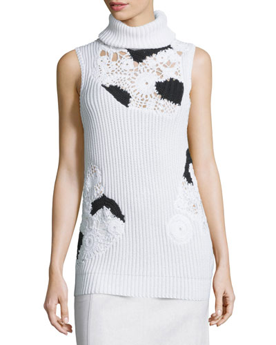 Sleeveless Ribbed Turtleneck w/Crocheted Insets, White/Black