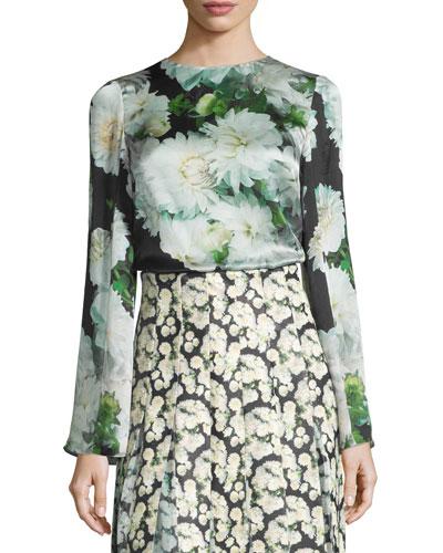 Bell-Sleeve Floral-Print Blouse, White Dahlia