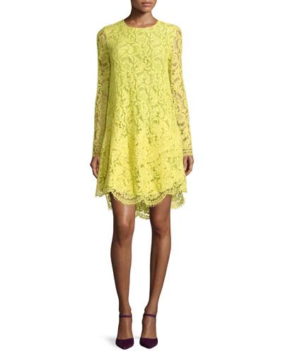 Long-Sleeve Trapeze Lace Dress, Citron