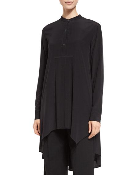 Long-Sleeve Button-Front Long Blouse, Black