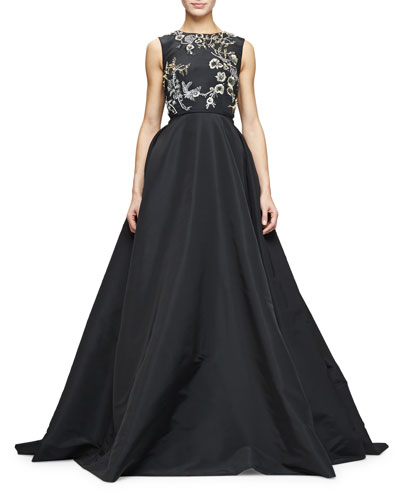 Sleeveless Embellished-Bodice Ball Gown, Black/Gold