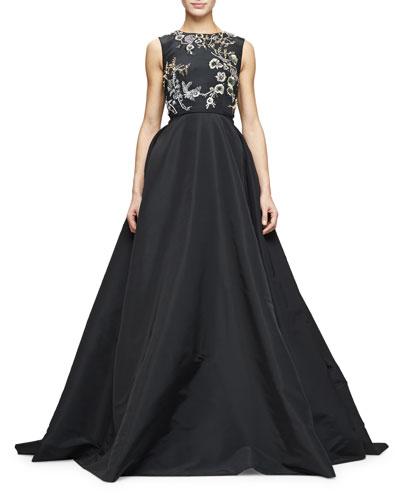 Sleeveless Embellished-Bodice Ball Gown, Black/Gold