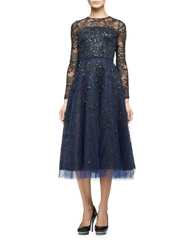 Long-Sleeve Degrade Embellished Midi Dress, Navy/Black