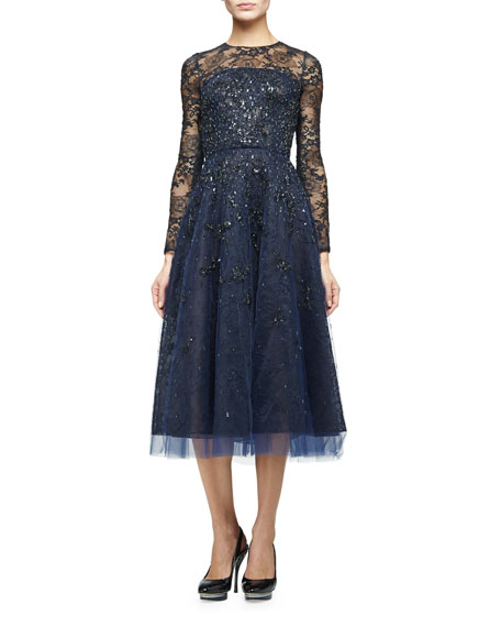 Oscar de la Renta Long-Sleeve Degrade Embellished Midi Dress, Navy ...