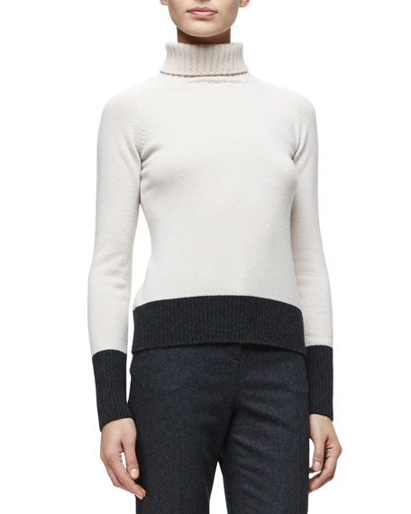 Carolina Herrera Square-Motif Fringe-Trim Poncho, Turtleneck