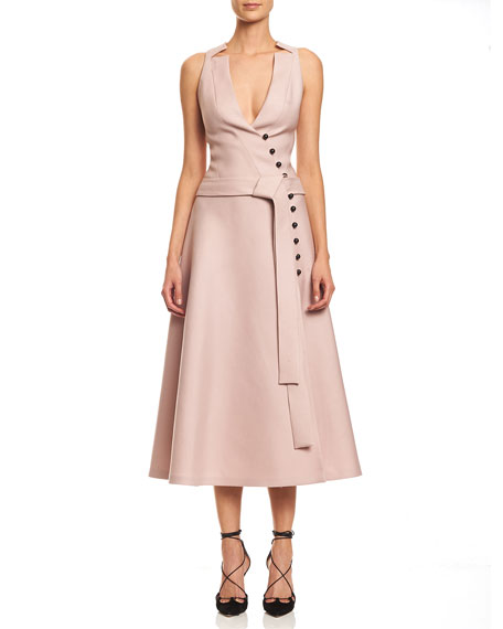 Sleeveless Wrap A-line Midi Dress, Powder Pink