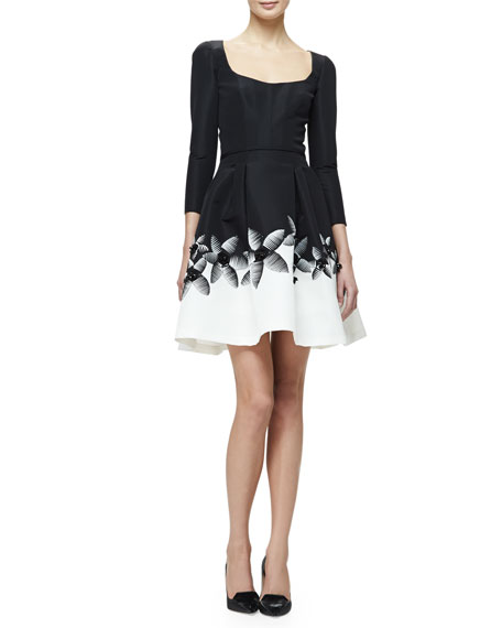 3/4-Sleeve Fit & Flare Cocktail Dress, Black/White