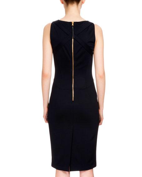 Shadow Sleeveless Sheath Dress, Navy
