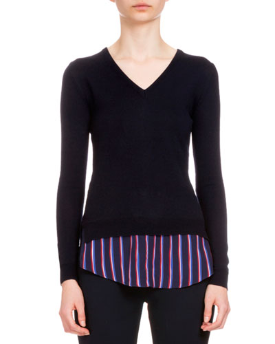 Colbert Long-Sleeve V-Neck Sweater w/Striped Hem, Navy
