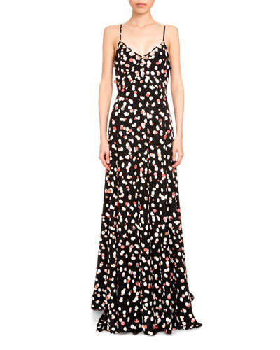 Rosalind Polka-Dot Paillette Gown, Black