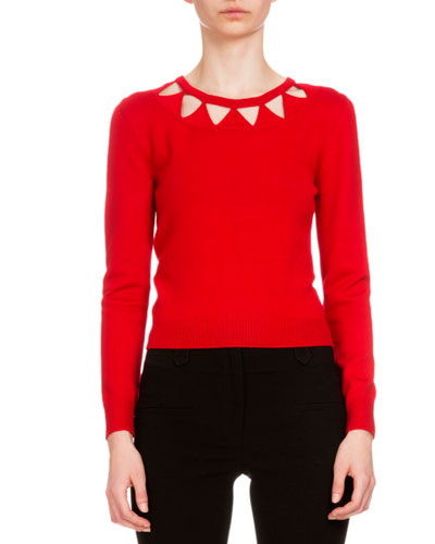 Woodward Triangle-Cutout Sweater, Tango