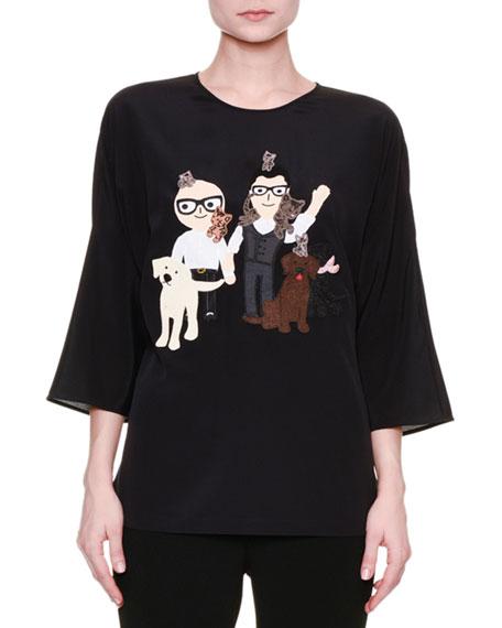 Dolce & Gabbana Dog & Cat Graphic-Print Blouse,