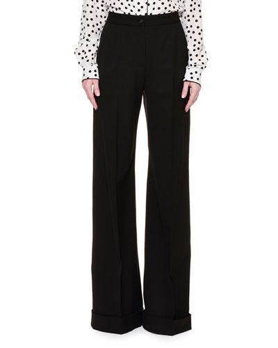 Wide-Leg Folded-Cuff Pants, Black