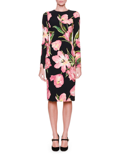 Long-Sleeve Tulip-Print Dress, Black/Rose Pink