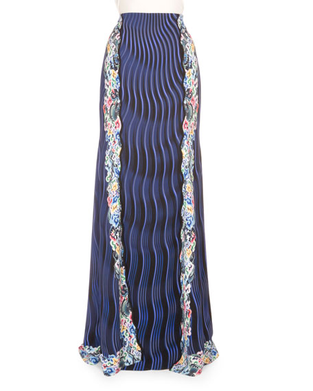 Mary Katrantzou High-Waist Mixed-Print Maxi Skirt, Snuffbox/Blue