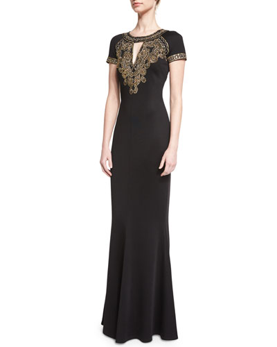 Sequined Keyhole Short-Sleeve Gown, Caviar