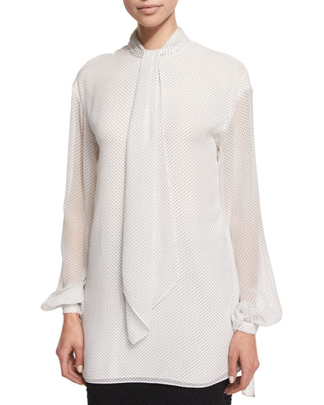 St. John Collection Dot-Print Tie-Neck Blouse, Frost/Caviar