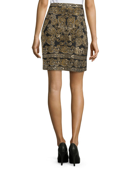 Sequined A-Line Mini Skirt, Caviar