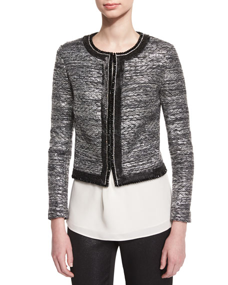 Painted Metallic Embellished-Trim Jacket, Caviar/Silver Shimmer Multi