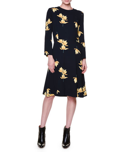 Bracelet-Sleeve Floral-Print Dress, Deep Blue