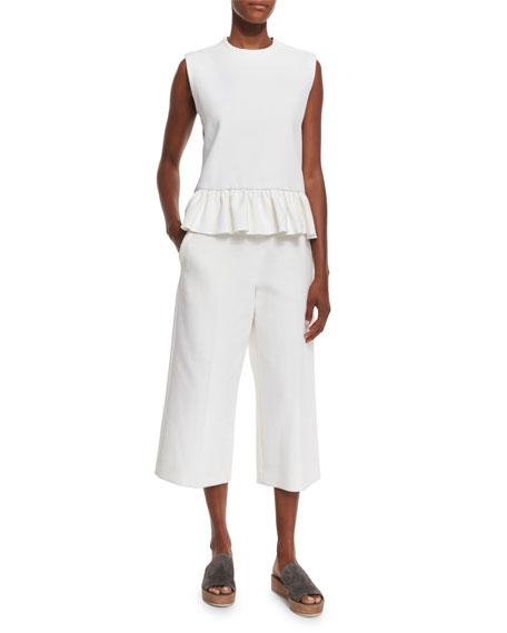 Wide-Leg Cropped Pants, Lily White