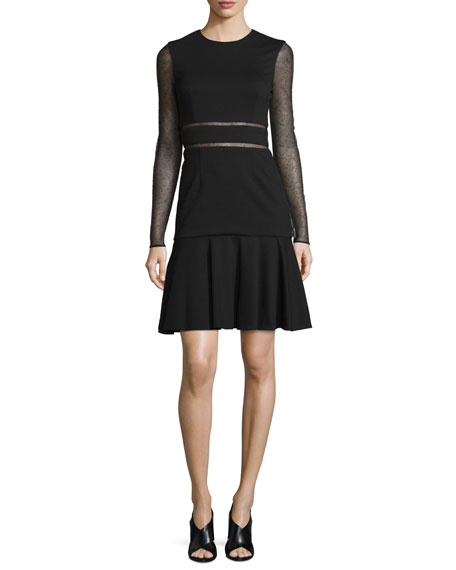 Jason Wu Long-Sleeve Lace-Inset Dress, Black