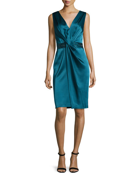 Twisted Satin V-Neck Dress, Tanzanite