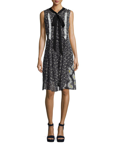 Sleeveless Daisy-Print Voile Dress, Black/Multi