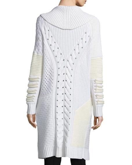 Shawl-Collar Mixed-Knit Long Sweater, Ivory/White