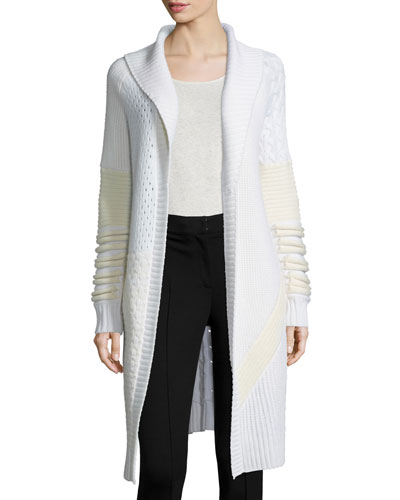 Shawl-Collar Mixed-Knit Long Sweater, Ivory/White