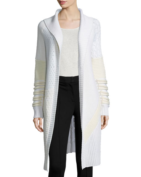 Prabal Gurung Shawl-Collar Mixed-Knit Long Sweater, Ivory/White