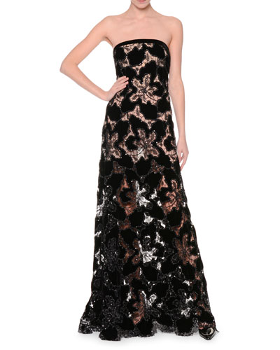 Strapless Embellished-Lace Bustier Gown, Black