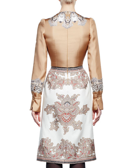 Long-Sleeve V-Neck Printed Dress, Beige