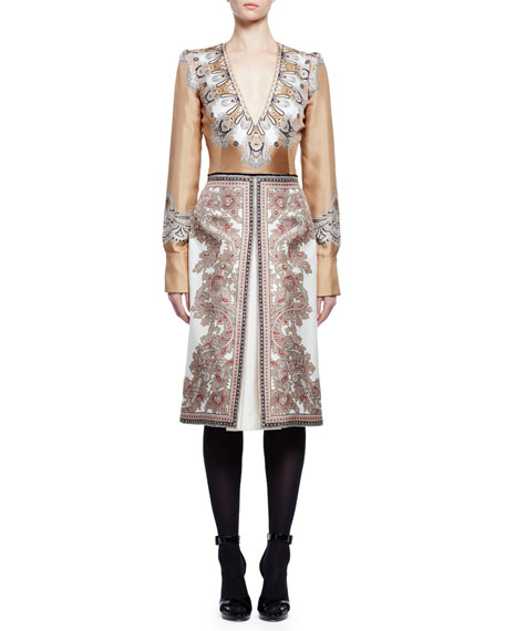 Alexander McQueen Long-Sleeve V-Neck Printed Dress, Beige