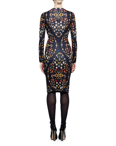 Obsession-Print Long-Sleeve Sheath Dress, Black Mix
