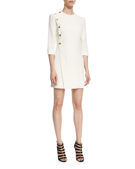 Alexander McQueen Side-Button 3/4-Sleeve Dress, White