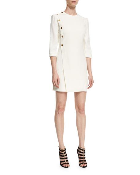 Alexander McQueen Side-Button 3/4-Sleeve Dress, White