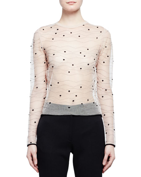 Long-Sleeve Sheer Wave Dot Top, Nude/Black