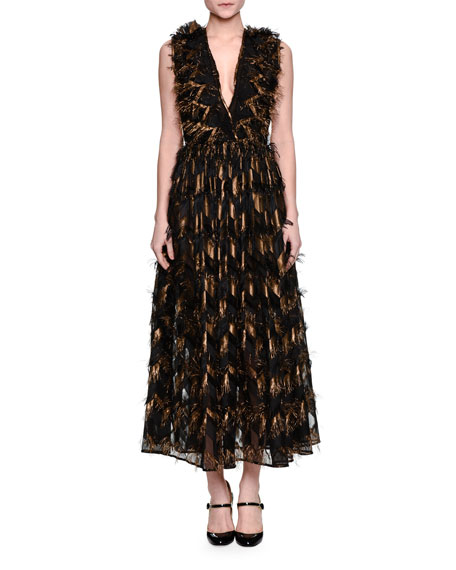 Dolce & Gabbana Metallic-Chevron Midi Dress W/Fringe, Gold/Black