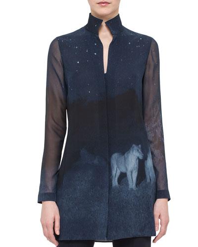 Night Lion-Print Silk Tunic, Starling