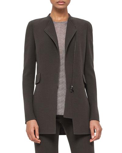 Asymmetric Zip-Front Long Jacket, Turtle