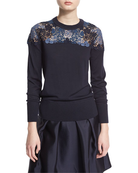 BurberryLong-Sleeve Lace-Yoke Sweater, Navy