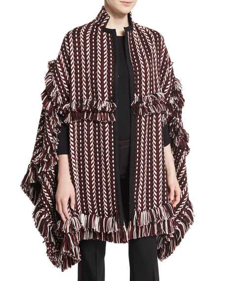 Burberry Fringed Jacquard Blanket Cape, Russet Brown