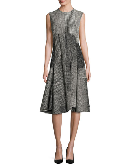 Jason Wu Sleeveless Menswear-Collage Dress, Black/Chalk
