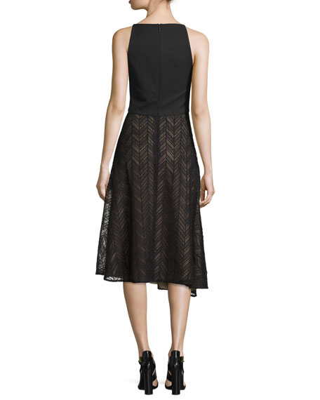 Sleeveless Herringbone Lace Dress, Black